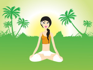 Female Doing Yoga On Green Invirement