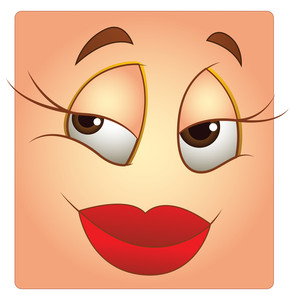 Female Face Expression Box Smiley Vector