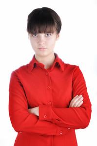 Female in red shirt