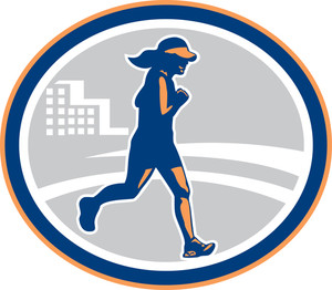 Female Marathon Runner City Retro