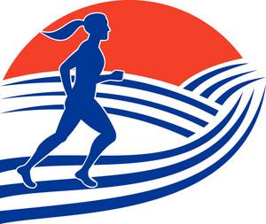 Female Marathon Runner Running Side