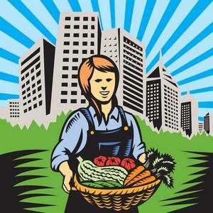 Female Organic Farmer Harvest Building Retro
