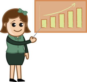 Female Presenting On Projector - Cartoon Bussiness Vector Illustrations