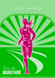 Female Run Marathon Retro Poster