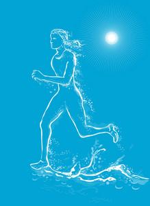 Female Runner Running Water