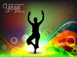 Female Silhouette Doing Yoga Meditation.  Eps10 Vector Illustration
