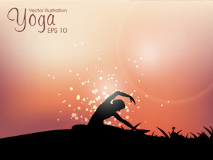 Weibliche Silhouette tun Yoga-Meditation. Eps10 Vektor-Illustration