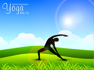 Female Silhouette Doing Yoga Meditation.  Eps10 Vector Illustration