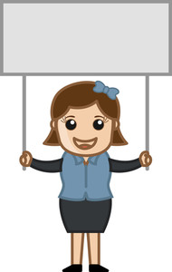 Female With A Blank Info Banner - Cartoon Bussiness Vector Illustrations