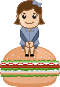 Female With Burger - Cartoon Business Vector Character