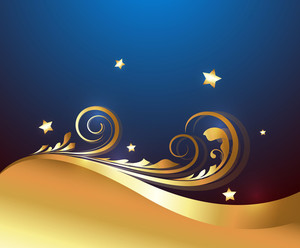 Festival Graphic Golden Floral Stars Background