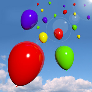 Festive Colorful Balloons In The Sky For Birthday Celebration
