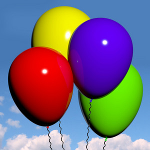 Festive Colorfull Balloons In The Sky For Birthday Or Anniversary Celebration
