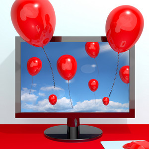 Festive Red Balloons In The Sky And Coming Out Of Screen For Online Celebration