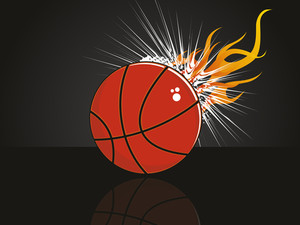 Fiery Background With Isolated Red Basketball