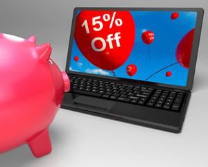 Fifteen Percent Off On Laptop Showing Price Reductions