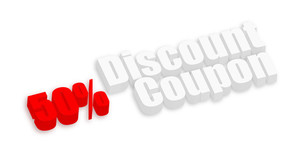 Fifty Percent Discount Coupon Banner