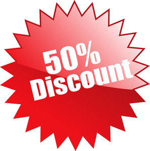 Fifty Percent Discount Sticker