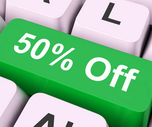 Fifty Percent Off Key Means Discount Or Sale