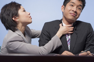 Fighting businesspeople in office