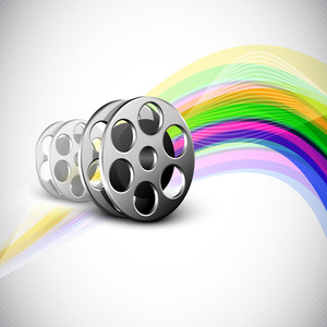Film Reel On Colorful Wave Background