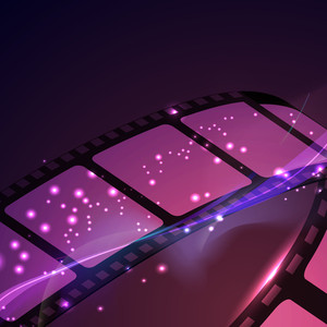Film reel on shiny purple background