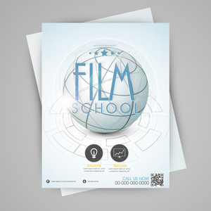 Film school template flyer or banner design with globe.