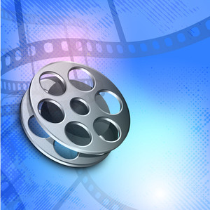 Film stripe or film reel on colorful movie background.