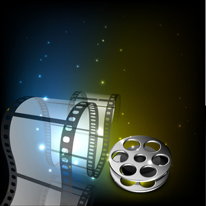 Film stripe or film reel on  colorful shiny background.
