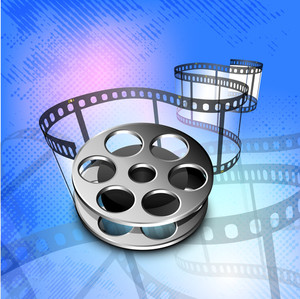 Film stripe or film reel on grungy blue background.