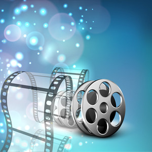 Film Stripe Or Film Reel On Shiny Blue Movie Background.