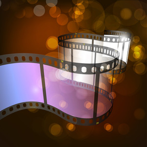 Film Stripe Or Film Reel On Shiny Brown Background