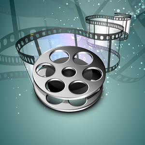Film stripe or film reel on shiny green movie background