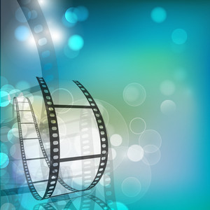 Film Stripe Or Film Reel On Shiny Movie Background 10