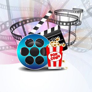Film Stripe Or Film Reel On Shiny Movie Background