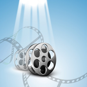Film Stripe Or Film Reel On Shiny Movie Background.