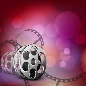 Film Stripe Or Film Reel On Shiny Pink Background
