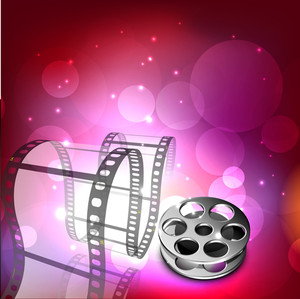 Film stripe or film reel on shiny pink movie background.