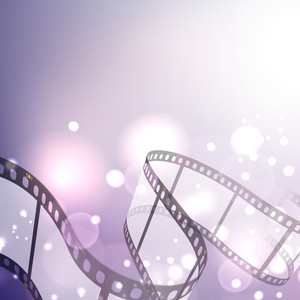 Film Stripe Or Film Reel On Shiny Purple Movie Background 10