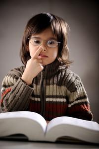 Fine portrait of cute little boy reading book