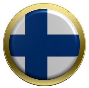 Finland Flag On The Round Button Isolated On White.
