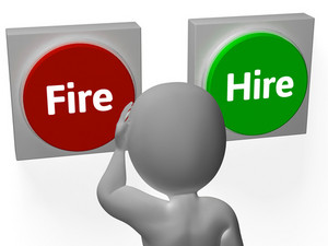 Fire Hire Buttons Show Human Resources