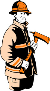 Fireman Fire Fighter Holding An Ax