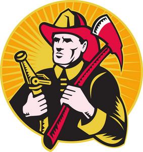 Fireman Firefighter Holding Ax Fire Hose