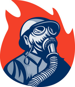 Fireman Or Firefighter Wearing Vintage Gas Mask