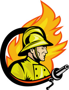 Fireman Or Firefighter With Fire Hose