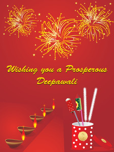 Firework Background With Diya