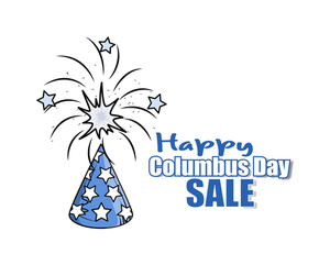 Firework Columbus Day Sale Banner