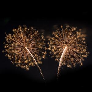 Fireworks isolated on black background