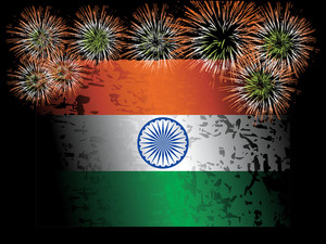 Fireworks With Indian Flag Isolated On Black